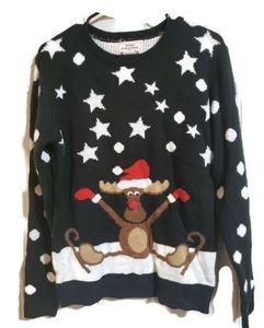Reindeer Christmas Ugly Sweater Large